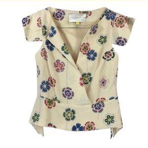 Beige Floral Silk Blouse